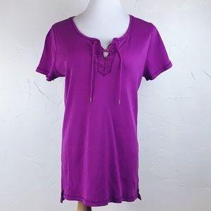 Lauren Ralph Lauren purple lace up ribbed top